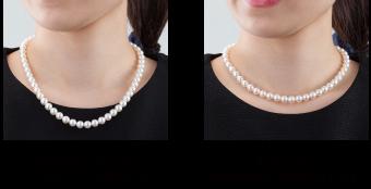 長めのネックレスはちょっとだらっとした感じがします 首元に沿う最適な長さに調整いたします